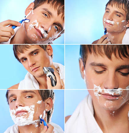 Collage of a shaving young man photo