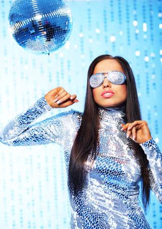 dancing disco: Stylish dancing woman in the club Stock Photo