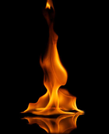 gas fire: Fire flames reflected in water
