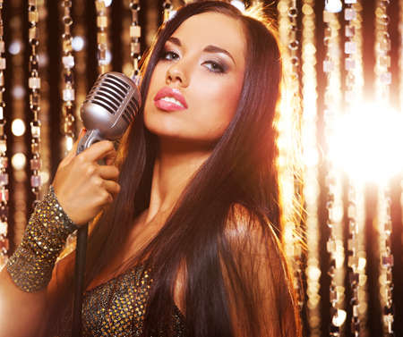glamorous: Attractive singer on the stage