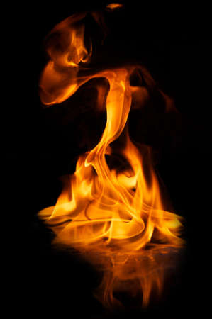 Beautiful stylish fire flames reflected in water Stock Photo - 8932919