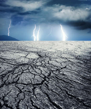 dehydration: Storm in desert Stock Photo