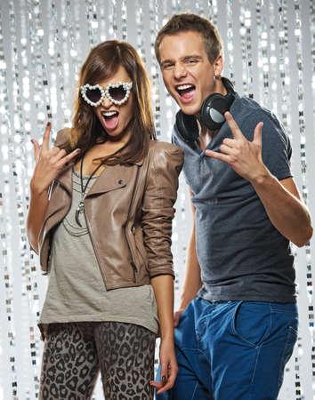 Stylish couple  in the nightclub photo