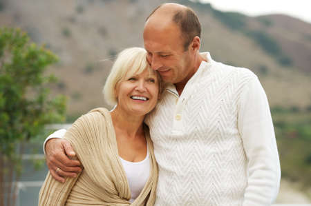 emotional couple: Middle-aged couple outdoors Stock Photo