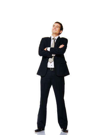 Jeune homme d'affaires isol? sur blanc