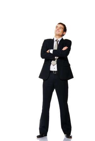 Joven empresario aislado en blanco