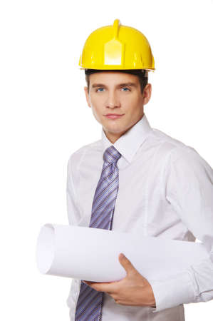 superintendent: Young handsome builder isolated on white