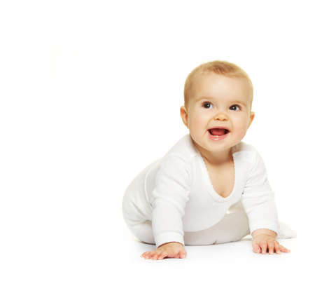 baby play: Adorable baby isolated on white