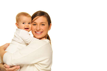 madre y bebe: Madre con su beb� adorable