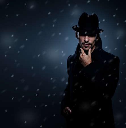 evil man: Mysterious man retro portrait