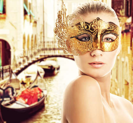 Woman with carnival mask in Venice Stock Photo