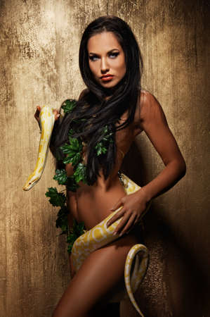 albino: Attractive brunette woman with python