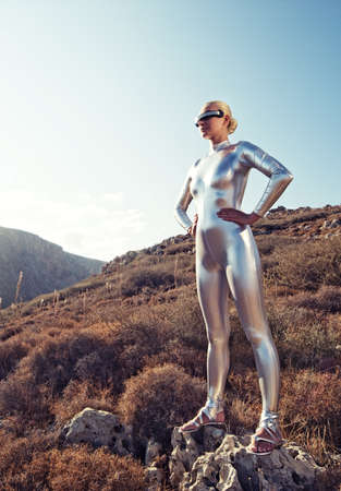 latex fetish: Cyber woman in the mountains