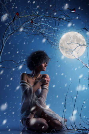 full moon romantic night: Attractive woman in winter forest
