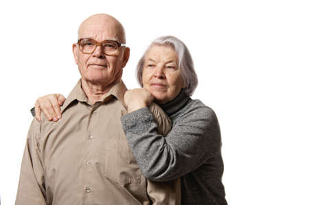 serious woman: Portrait of a happy senior couple embracing each other Stock Photo