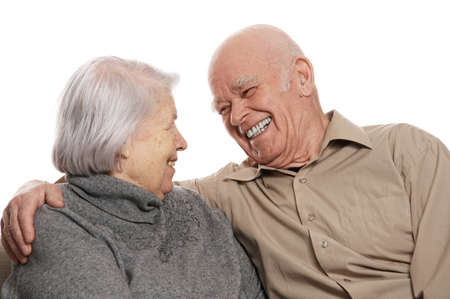 older couple: Portrait of a happy senior couple embracing each other Stock Photo