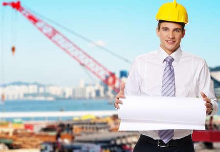hard look: Young handsome builder