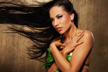 Attractive brunette woman with blowing hairs Stock Photo - 9026105
