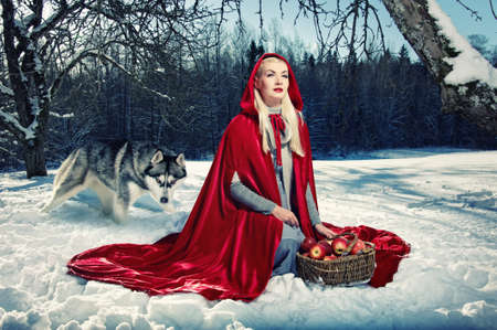fairy tree: Red hood and a wolf behind her