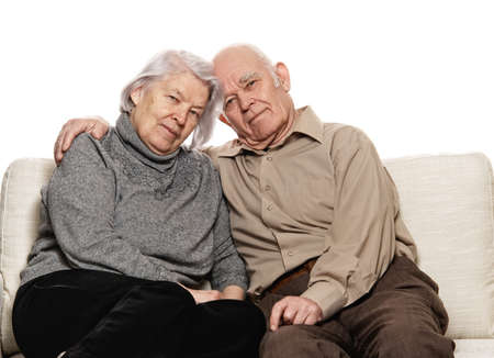 grandfather and grandmother: Portrait of a happy senior couple embracing each other Stock Photo