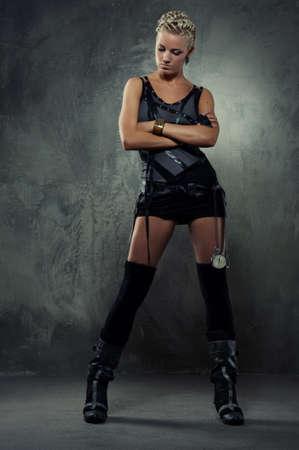 punk hair: Attractive steam punk girl Stock Photo