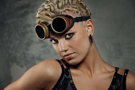 Close-up portrait of a steam punk girl photo