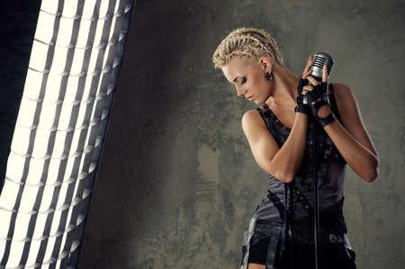 Attractive steam punk singer photo