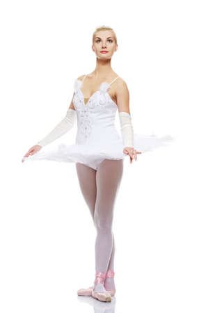 Beautiful ballet dancer isolated on white background Stock Photo - 9026572