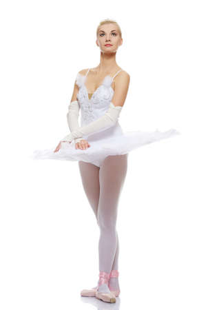 Beautiful ballet dancer isolated on white background Stock Photo - 9026574