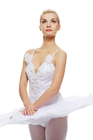 Beautiful ballet dancer isolated on white background Stock Photo - 9026772