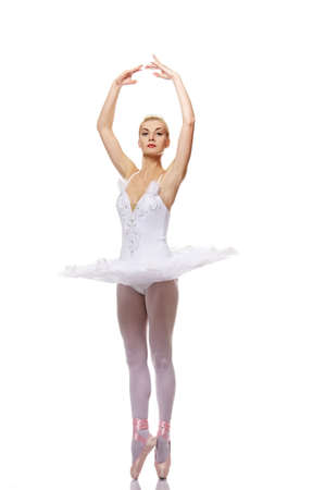 Beautiful ballet dancer isolated on white background Stock Photo - 9026600