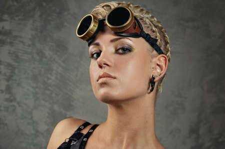 Close-up portrait of a steam punk girl photo