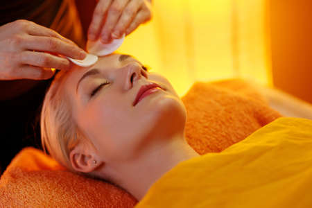 Beautiful woman having a face massage Stock Photo - 9102313