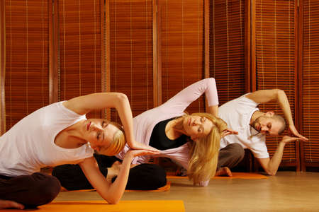 Group of people doing yoga exercise Stock Photo - 9102311