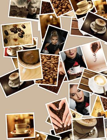 Coffee set. Retro collage photo