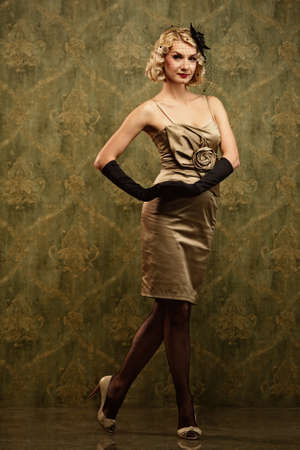 Lovely woman retro portrait photo
