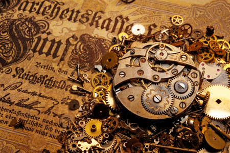 clockwork: The gears on the old banknote