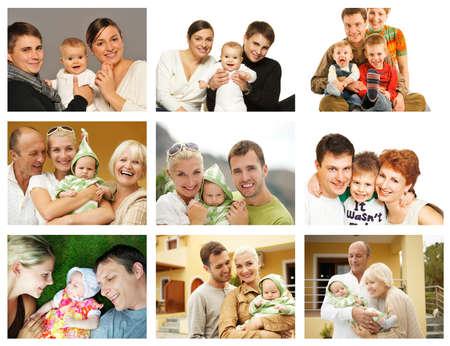 Happy family collage photo