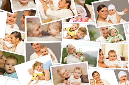 Mother with a child collage photo