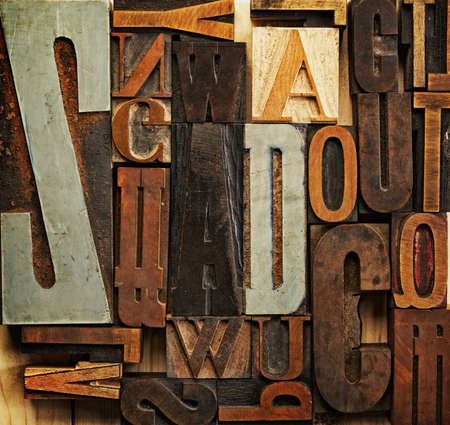 vowel: Vintage letter prints Stock Photo