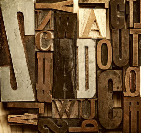 latin language: Vintage letter prints Stock Photo