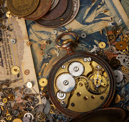 The gears on the old banknote Stock Photo - 9363926