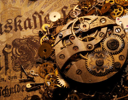 The gears on the old banknote Stock Photo - 9363900