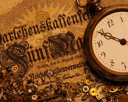 The gears on the old banknote Stock Photo - 9363801