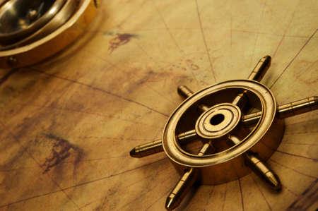 ruder: Lenkrad auf die alte Karte
