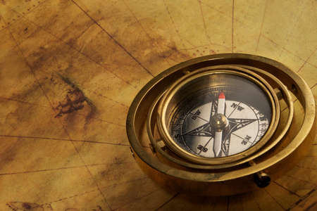 Vintage compass on the old map Stock Photo - 9418115