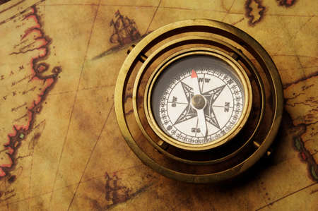 sepia: Vintage compass on the old map Stock Photo