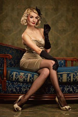 Beautiful woman retro portrait photo