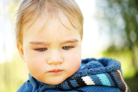 Beautiful baby portrait outdoors photo