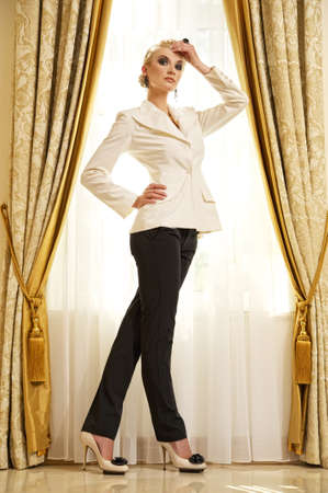 trousers: Attractive blond woman